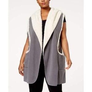 Hue Plus Size Sleeveless Hooded Robe Gray